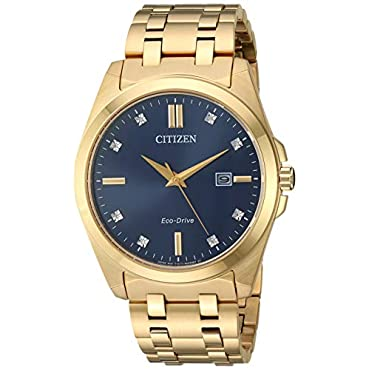 41mm Mens Citizen Eco-Drive BM7103-51L Corso Watch with Blue Dial and Yellow Gold-Tone Bracelet