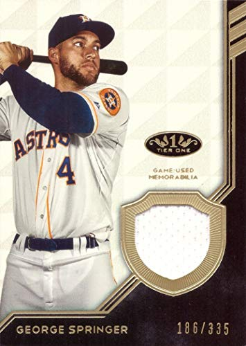 2018 Topps Tier One Relics #T1R-GSP George Springer Game Worn Astros Jersey Baseball Card - White Jersey Swatch - Only 335 made!