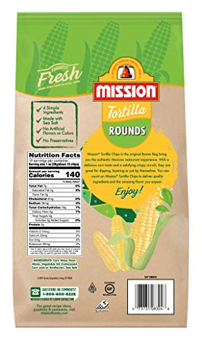 Mission Rounds Tortilla Chips | Gluten Free | Restaurant Style Corn Tortilla Chips | 13 oz