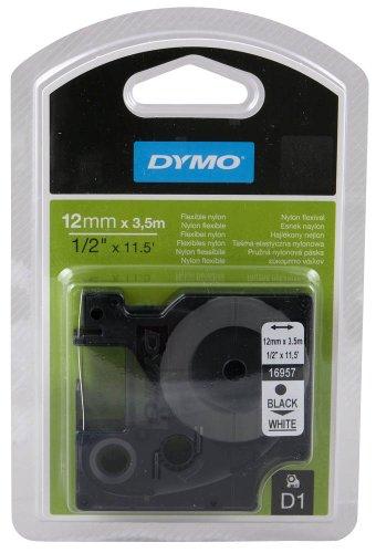 DYMO Beschriftungsband / Kabelumhüllungsband D1 16957 / 12 mm / Druck schwarz / Band weiß / für DYMO Pocket, 1000+, 2000, 3500, 4500, 5500, LM 100/100+/120P/150/160/200/210D/220P/260P/280/300/350/350D/360D/400/420P/450/450D/500TS/II/PC/PC II/PnP/PnP WiFi, LabelWriter 450 DUO, LP 100/150/200/250/300/350