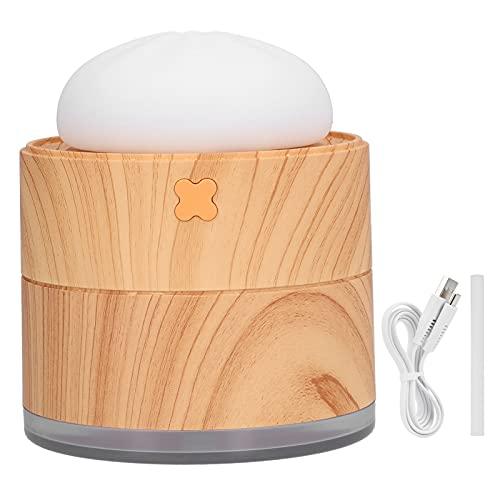Mini Nawilżacz, Przenośny Nawilżacz 400 Ml, Słodki Nawilżacz Powietrza w Kształcie Bułki na Parze z Lampką Nocną, 2 Tryb Mgły Regulowany Zasilany Przez USB do Domu, Podróży(Ziarno drewna)