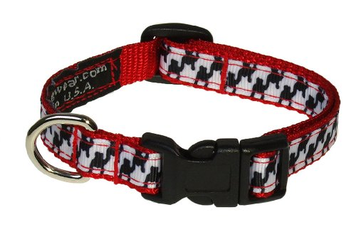 "XSmall Black/White Houndstooth Dog Collar: 1/2"" Wide, Adjusts 6-12"" - Made in USA. -  Sassy Dog Wear, H004-CXS"