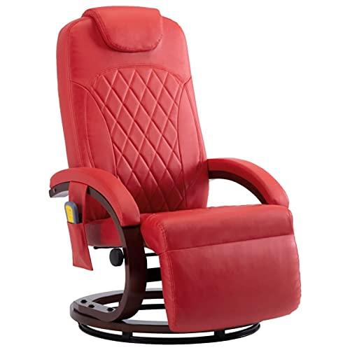 Gawany Sillón de Masaje reclinable TV Sillón Relax de Salón, Masaje de Vibración de 8 Puntos, Respaldo y Reposapiés Ajustable, Calentamiento Asiento Cuero sintético Rojo