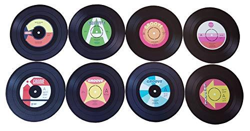 Provance 8 Stück Untersetzer Vinyl Record Schallplatte Retro Getränkeuntersetzer Tassen Tisch Bar