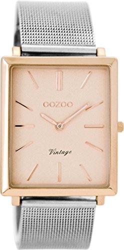 Oozoo Vintage Damenuhr mit Milanaise Edelstahlband Flach Eckig 31 MM Rose/Silberfarben C8182