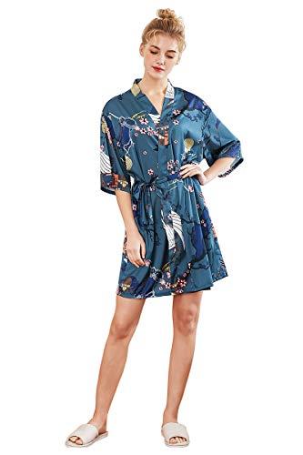 Mujers Batas Pijama Lencería Kimono Corto Pavo de satén y Estampado Floral