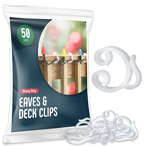 Holiday Light Clips [Set of 50] Deck light Clips - Fascia Boards Clips, Banister light clips - Mount to Decks, Roof Eaves, Fence, And Staircases. Christmas light clips - Made In USA No Tools Required