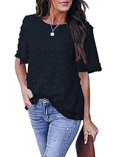 Camiseta casual de estilo suelto para mujer, cuello redondo manga corta color sólido Tops