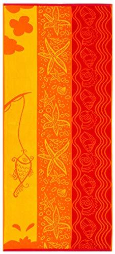 ZOLLNER Toalla de Playa con Animales Marinos, 70x180 cm, Rojo, Amarillo, Naranja