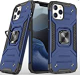 TATER, Compatible/Replacement for iPhone 12 Case Black, 360 Metal Ring, Shockproof Case, Foldable Kickstand. Compatible with Magnetic car mounts. Hard-Outer Layer (Blue, iPhone 12)
