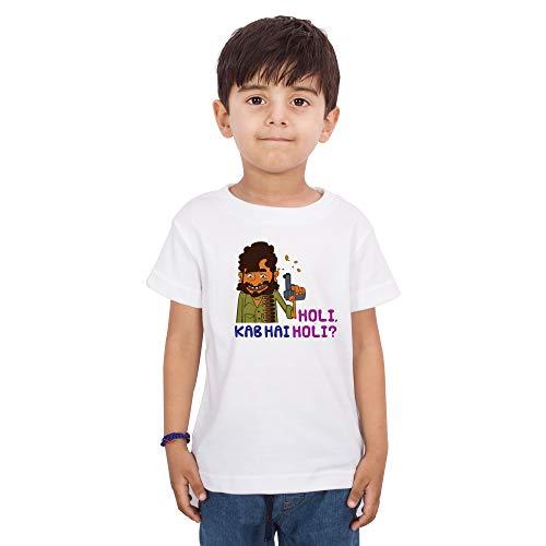 LIMIT Fashion Store - Holi Kab Hai Holi Gabbar Style Printed Kids T-Shirt for Boys & Girls Kids Casual Wear (2 Years) White