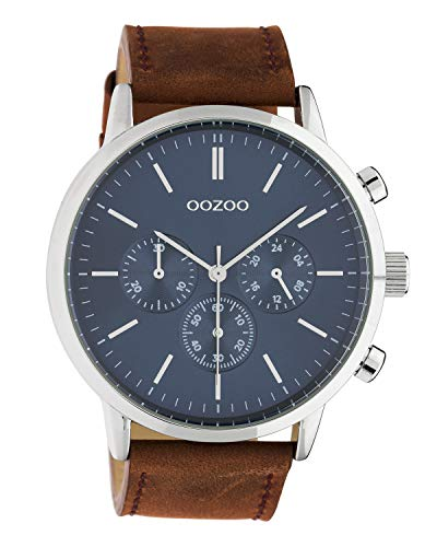 Oozoo Herrenuhr Chrono Look mit Lederband 48 MM Silberfarben/Blau/Cognac C10540