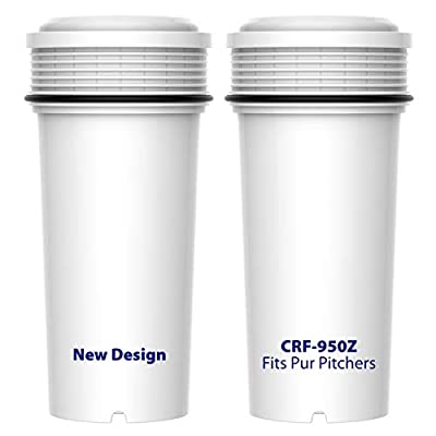 AQUA CREST CRF-950Z Pitcher Water Filter, Compatible with Pur Pitchers and Dispensers, BPA-Free, Ultra Filtration Technology, Micron Rating 0.1(Pack of 2)