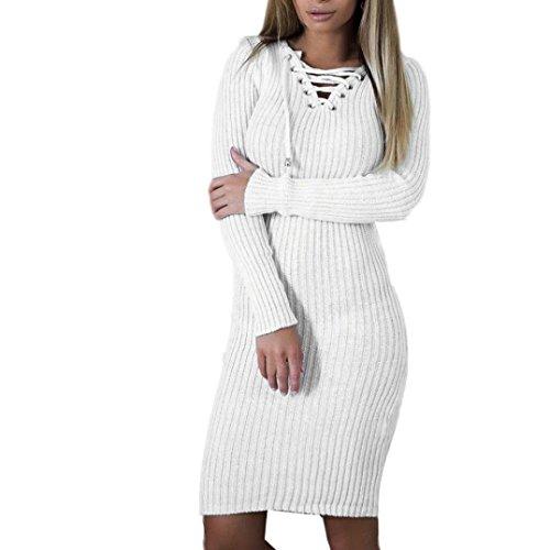 manadlian Femmes Chandail Robe, Bouton Mxnche Longue Tricoter Moulantes Manteau (XL, Blanc)