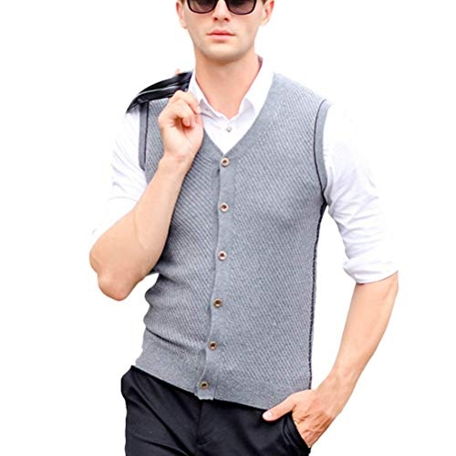 Heren mannen Father Middle Aged Solid Soft Slim V Troyer Neck Wool Knitted Knitwear Pullover Jumper Vest Waistcoat Gilet Cardigans Christmas Thanksgiving Gift