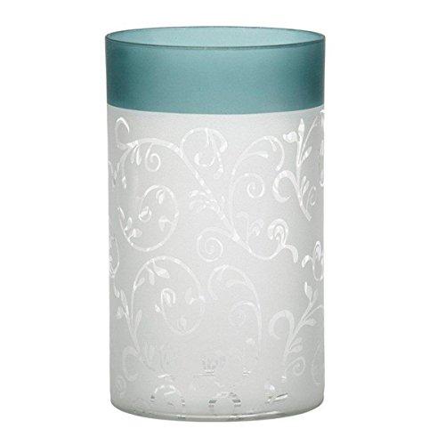 Yankee Candle 1521507Teal Vine Glass Tealight Holder, Green/White, 15x 10x 10cm