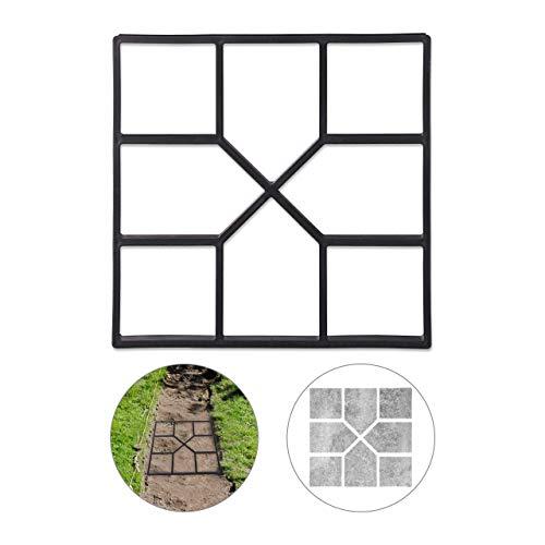 Relaxdays Betonform, Schalungsform zum selber gießen, Gussform für Gehwegplatten, 40x40cm, robuster Kunststoff, schwarz