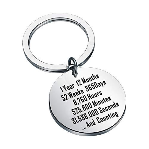 MYSOMY 1 Year and Counting Keychain 1st Year Anniversary Keychain Wedding Anniversary Gift for Husband Wife (1 Year keychain)