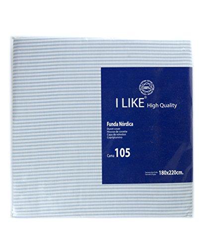 I LIKE Funda NÓRDICA Rayas Azul 100% ALGODÓN Cama 105 (180 x 220 cm)