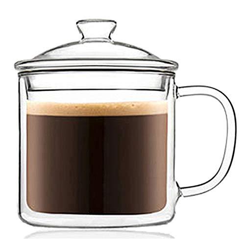 TAMUME - Tazza da tè in vetro a doppia parete, con filtro e coperchio (500 ml)