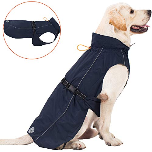 Pro Plums Dog Raincoat Adjustable Lightweight Jacket with Reflective Straps Buckle and Harness Hole Best Gift for Large Medium Small Puppy Dog[ Navy Blue, XXL]