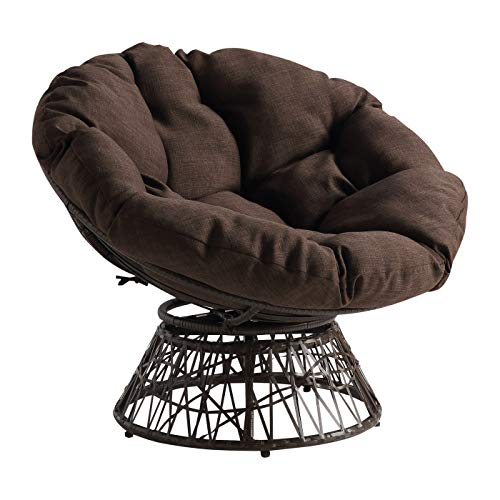OSP Home Furnishings Wicker Papasan Chair with 360-Degree...