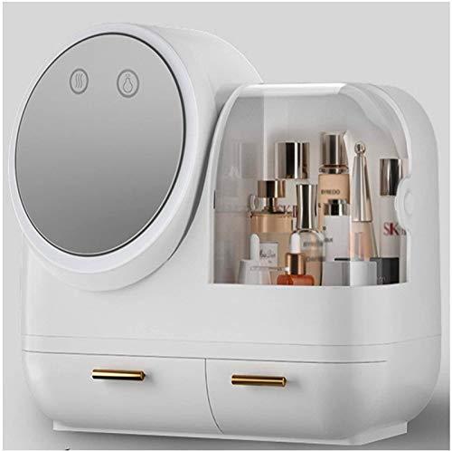 Multifunctional Joyas modernas y cajas de visualización de almacenamiento de cosméticos con espejo iluminado LED Mesa de tocador para el hogar Productos de cuidado de la piel Dormitorio para baño, cóm