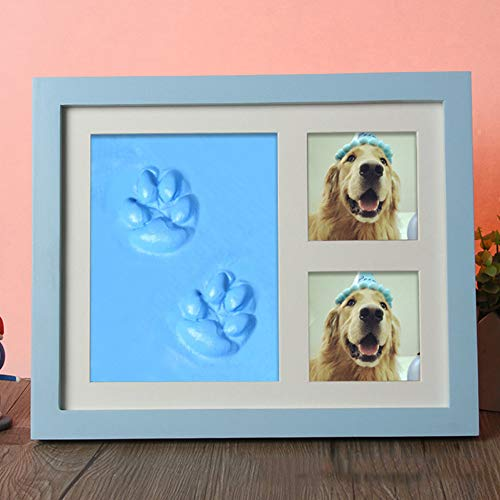 Yipianyun Amor Bebé Huellas De Mascotas Sello De La Almohadilla De Pata De Perro Foto Marco del Estampado De Pata De Perro Tatuaje Conjunto Marcos Fotográficos,Azul