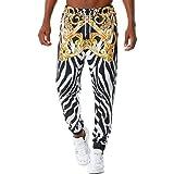 Huntrly Pantalones Casuales para Hombre Personalidad de Moda 3D Impresión Retro Cordón Cintura elástica Pantalones para Correr Varios Estilos de Pantalones Casuales de Moda M