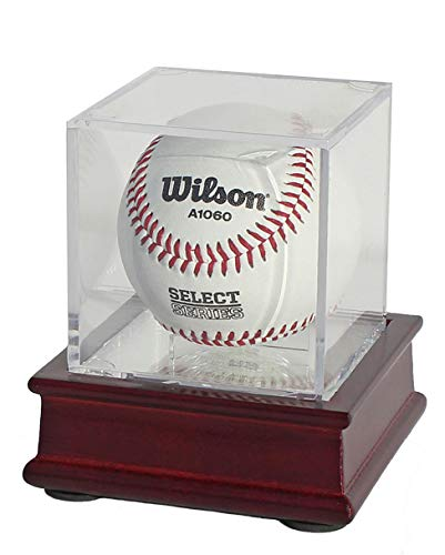 UV Single Baseball Holder Display Holder, Case - UV Protection Acrylic Cube with Wooden Stand (Cherry)