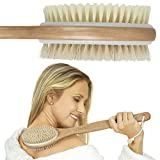 Vive Shower Brush - Dry Skin Body Exfoliator - Shower and Bath Scrubber For Wash Brushing, Exfoliating, Cellulite, Foot Scrub, Leg Exfoliant w/Soft and Stiff Massage Bristles - Wooden Long Handle