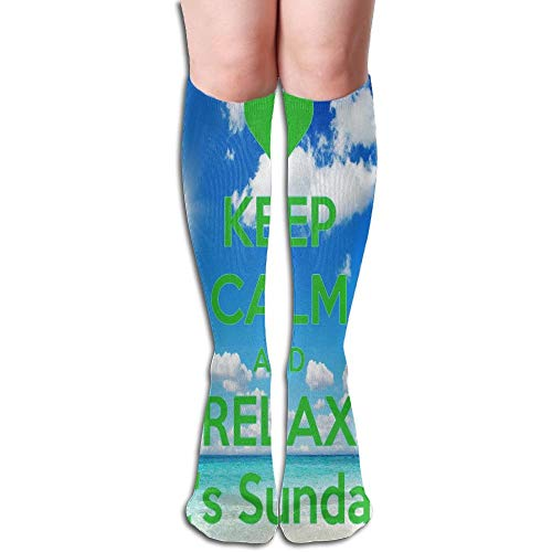 ouyjian Thigh High Socks Keep Calm and Relax Athletic Knee High Stockings 50cm