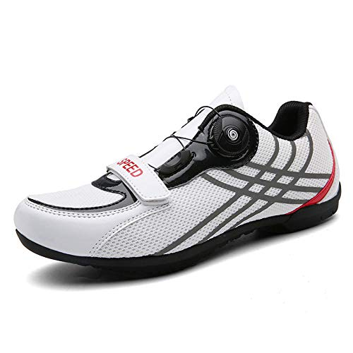 Tingxx Spring and Summer Leisure Men's and Women's Road Bike Power Shoes Breathable Mountain Bike Cycling Shoes White_46