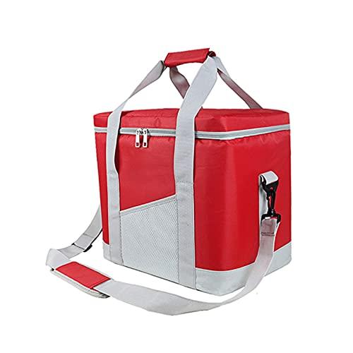 22L Bolsa refrigeradora a prueba de fugas Fiambrera térmica de gran tamaño para picnic Aislamiento para vehículos Bolsa de hielo Bebidas para alimentos Bolsa fría aislada para vino (Color:red bag)