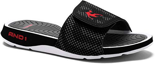 AND1 Enigma 2.0 Men's Athletic Slippers, Adjustable Width (11, Black)