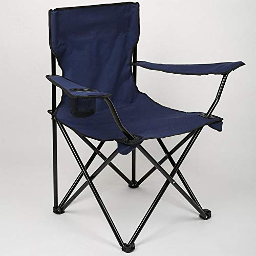 Outdoor Folding Chair, Navy Blue,Portable and Comfortable, Suitable for Camping, Beach, Fishing, Barbecue, Travel D-20-10-26 (Color : Navy Blue)