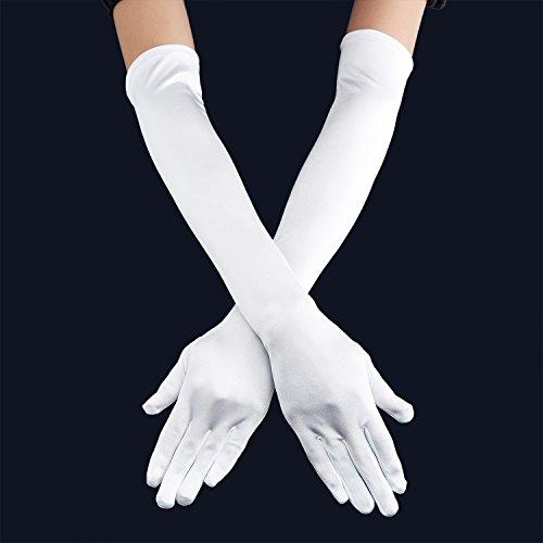 """QNPRT 1920s Opera Satin Long Gloves 19.5"""" Elbow Length 12BL (White)"""