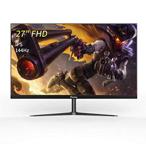 """Prechen Monitor Gaming 27"""",Display Full HD,144 Hz,IPS,Schermo Risoluzione 1920x1080,luminosità intelligente,luce blu bassa, cornice ultrasottile, Porta VGA/HDMI,Monitor per videogiochi,nero"""