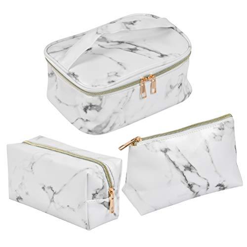 FOCCTS 3 Stück Wasserdicht PU Kosmetiktasche Set Marmor Muster für Damen Schminktasche kulturbeutel Waschtasche Make Up Tasche