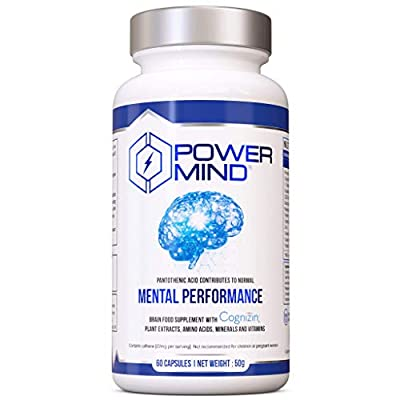 POWERMIND-Mental Performance Brain Booster-Nootropics Cognitive Enhancer with Bacopa Monnieri & Guarana for Focus & Memory, CDP-Cholin for Brain Health, Tyrosine & Theanine for motivation & well-being