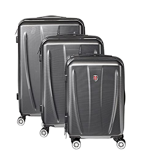 Ellehammer - Juego de maletas Flow de 20'/56cm (37L) 24'/66cm (63L) y 28'/76cm (94L) - Gris Carbono - Candado de combinación TSA fijo - Sistema de carrito de aluminio con ruedas dobles silenciosas