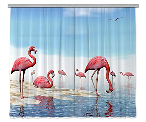 AG Design Flamingo, Gardine/Vorhang, 2 Teile, Stoff, Mehrfarbig, 0,1 x 280 x 245 cm