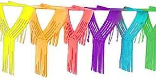 12 Foot Long Rainbow Multicolored Paper Tissue Garland Drop Fringe String Banner for Party Decorations, Birthdays, Event Supplies, Festivals, Children & Adults