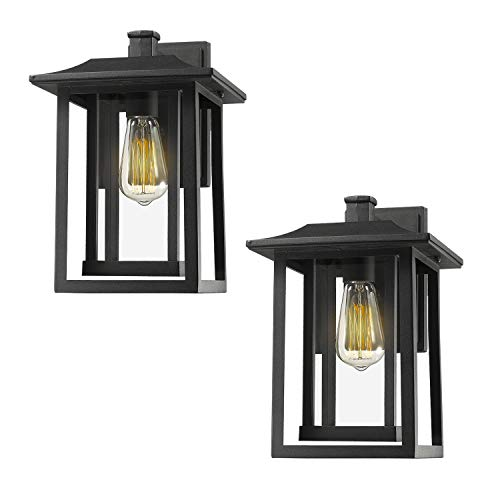 "Beionxii Outdoor Wall Lights | Exterior Light Fixtures Wall Mount Sconces Twin-Pack, Sand Textured Black (8.9""W x 13.5""H) - A197 Series"