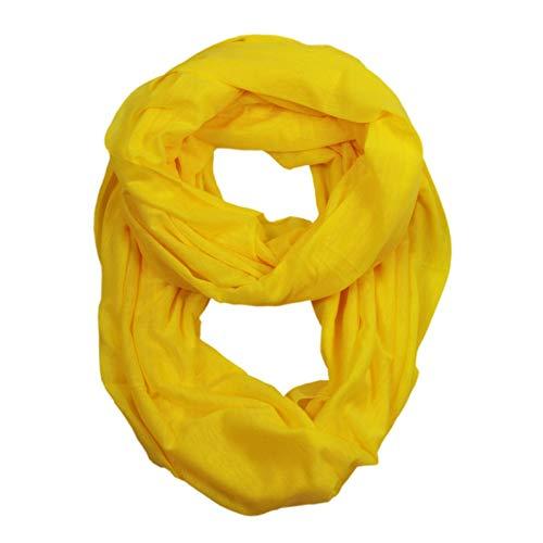 LOOP Schal Damen Rundschal Basic Schlauchschal Unifarben Tuch Loopschal Halstuch Frühling Sommer Winter Ganzjährig (Gelb)