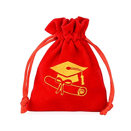 FLOFIA 25pcs Graduación Bolsas Bolsitas de Terciopelo Pequeñas Rojo Patrón Birrete Regalo Decoración para Fiesta Ceremonia Feliz Graduación Graduation Gifts Party Decorations (8 x 10 cm)