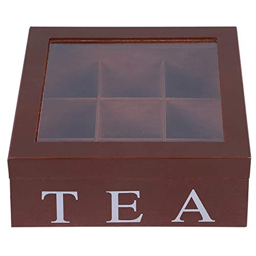 Ryoizen Teebox aus Holz, Teekiste mit 9 Fächern, große Teebeutelbox,Sichtluke Teekiste zum Bewahren des Aromas für intensiven Teegenuss, Natur(braun)