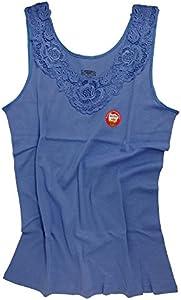 Camiseta interior para mujer con encaje extragrande, sin costuras laterales, algodón azul real 38-40