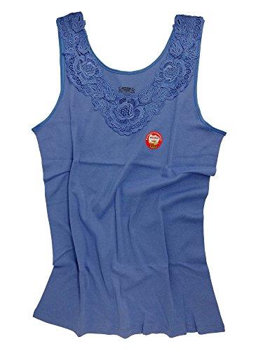 Damen Shirt, Unterhemd mit extra großer Spitze, Trägershirt ohne Seitennaht - Cottonprime (40/42, Royal Blue)