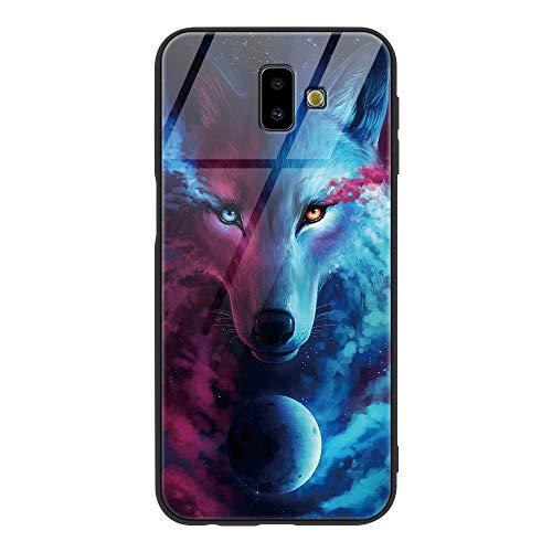 Yoedge Samsung Galaxy J6 Plus Cover, [Ultra Sottile] Antiurto con Modello Disegni Custodia in Vetro Temperato [Morbido TPU Bordo in Silicone] Bumper Case per Samsung Galaxy J6 Plus, Lupo